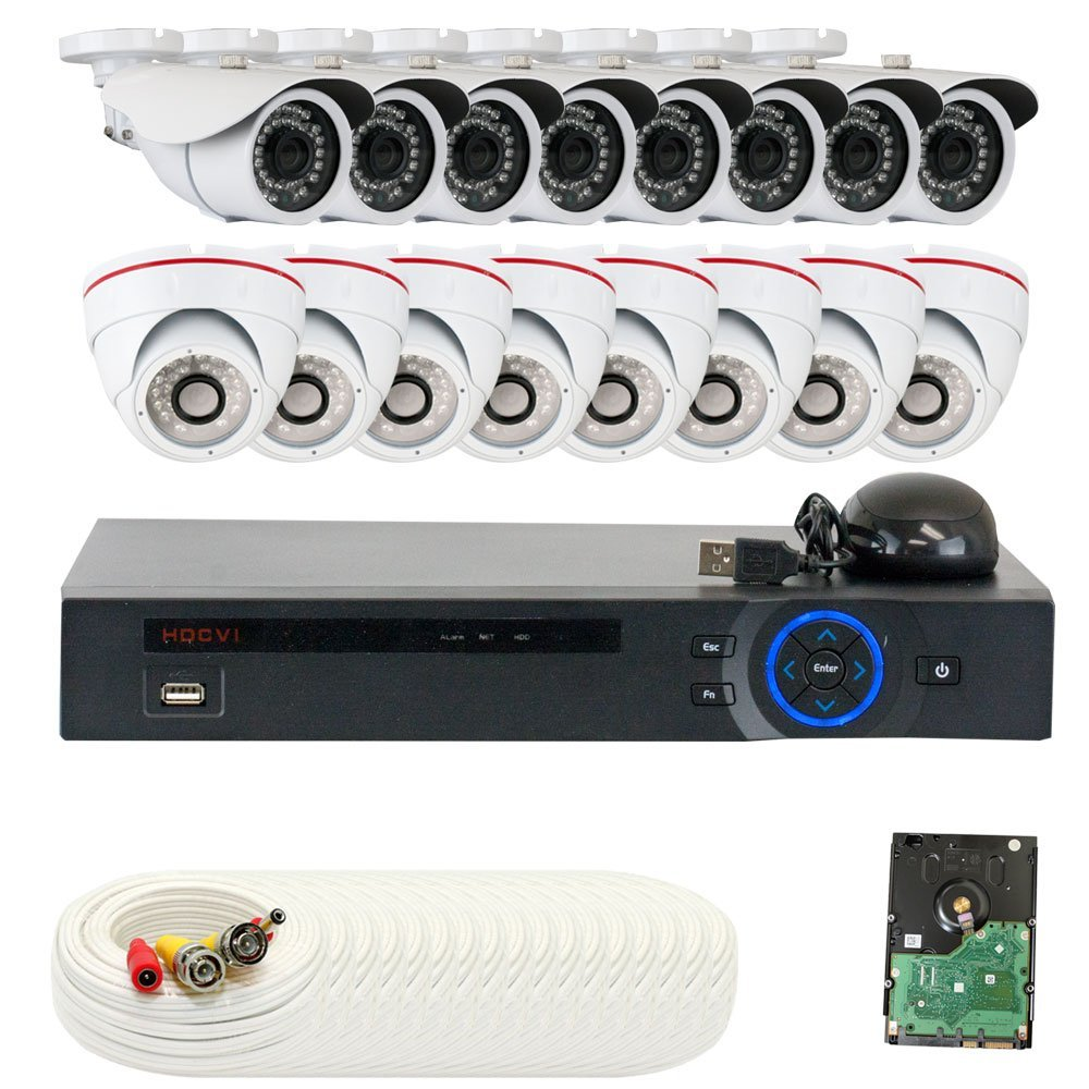 GW Security 16CHC11GW842CVGW822CV 16 CH HD Real-time 30 Fps DVR 12 x 1/2.8 Inches 2.1 MP Camera, 3.6 mm Lens (Color)