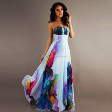 Europe and the United States women's sexy digital print dress strapless, sleeveless off-the-shoulder gown has a spot