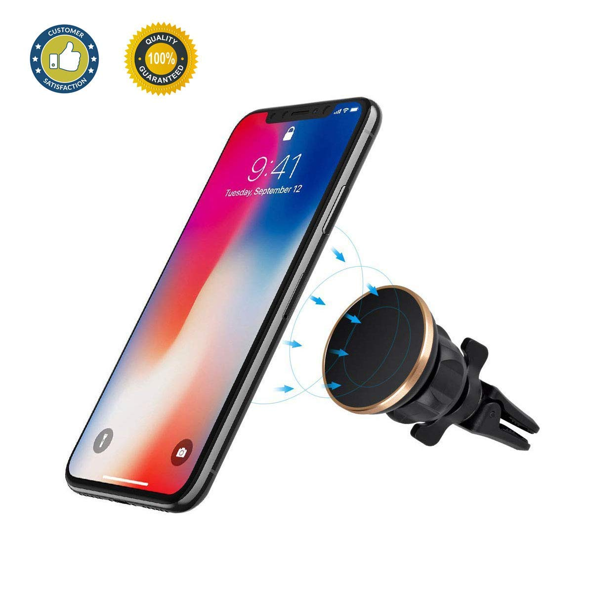 Magnetic Phone Car Mount Universal Magnet Air Vent Phone Holder for Car 360°Adjustable Car Phone Mount Compatiable for iPhone X/8/7/7P/6/6P/5,Samsung Note Galaxy