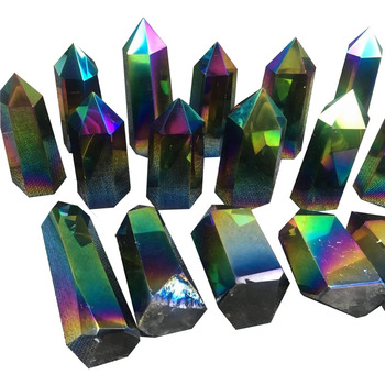Natural Titanium Coated Healing Crystals Points Obelisk Clear Quartz Crystal Wands For Sale