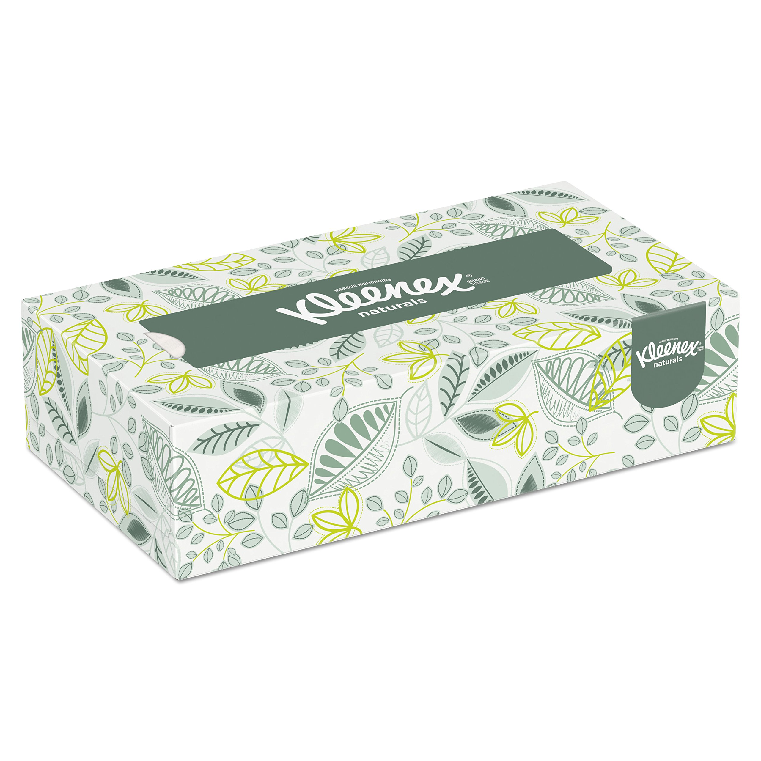 Kleenex Professional Naturals Facial Tissue for Business (21601), Flat Face Tissue Box, 2-PLY, 48 Boxes/Case, 125 Soft Sheets/Box, 6,000 Sheets/Case