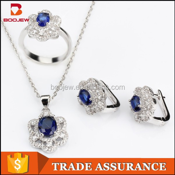 2015 noble india white gold plated blue luster cz stone silver jewelry set