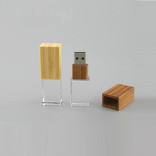 Custom usb key crystal flash drive 8gb wooden case engraving logo