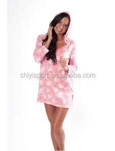 2016 con playa con de de capucha Vestido Ropa Túnica capucha playa rosa PTAHH4