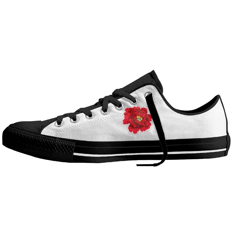 Showydma Lover's Blue Peony Logo Styles Canvas Shoes Lover's Red Peony Canvas Shoes