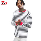 black and white striped long sleeve t-shirt mens bulk striped t shirts with red contrast ribs