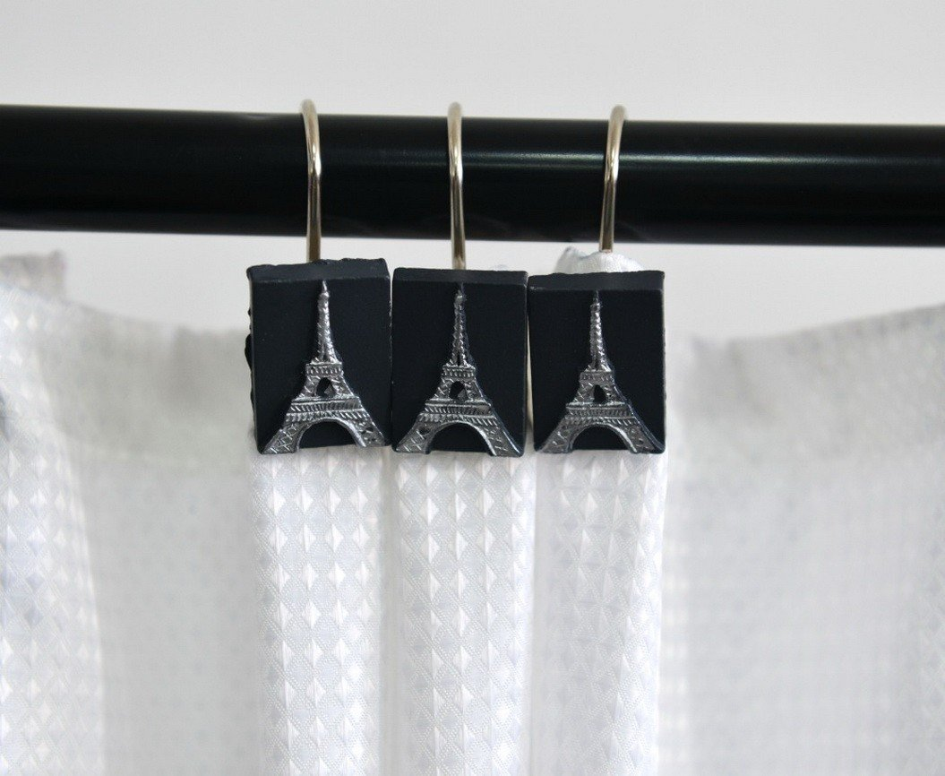 Get Quotations AMonamour Decorative Shower Curtain Hooks Rustproof Smooth Gliding Roller Rings For Bathroom