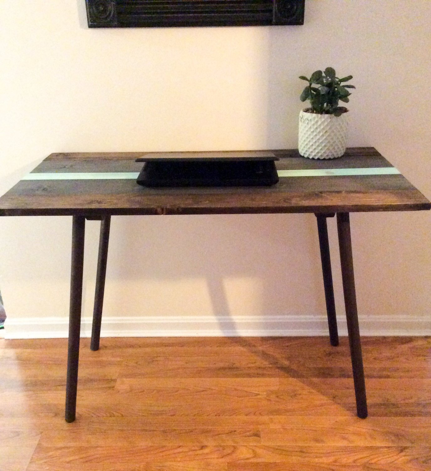 Mid century modern wood desk with angled legs, colorful laptop desk, striped wooden desk, solid wood