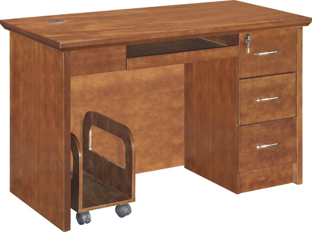 office table with drawers. Wood Veneer Small Size Office Table With Three Drawers No Return Design I