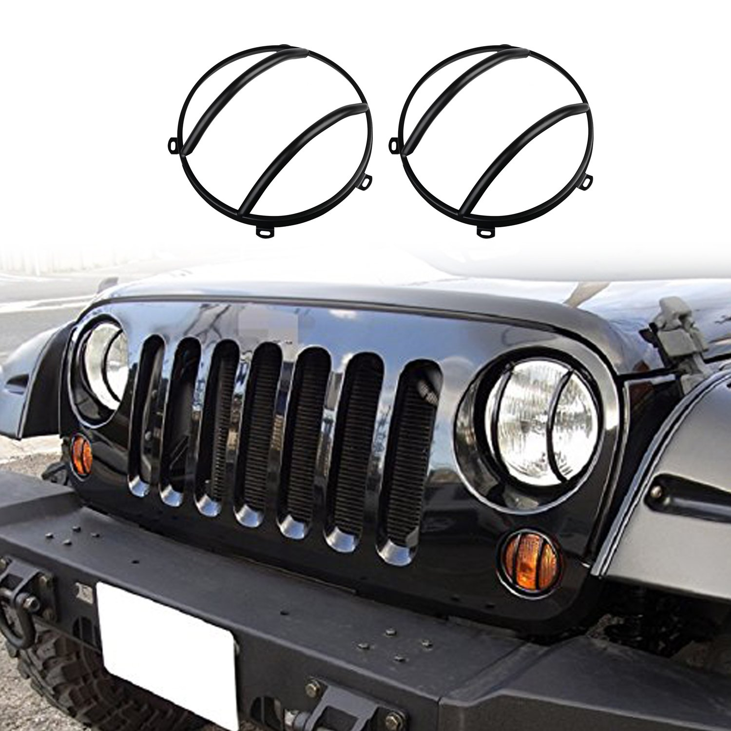 1 Pair DEF Silver Turn Signal Light Cover Trim for 2007-2017 Jeep JK Wrangler /& Unlimited