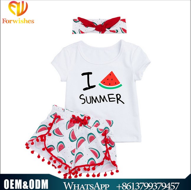 Sweet children clothes watermelon printing shorts white t-shirts headband cotton 3pcs baby sets 1-4y kids summer clothes for gir