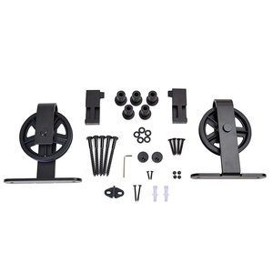 6.6FT Black Vintage Strap Industrial Wheel Carbon Steel Door Hardware Set For Sliding Barn Wood Door