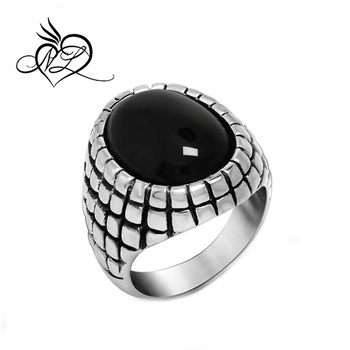 2647d2a66521 De acero inoxidable anillo de los hombres anillos de ónix Vintage Retro  Ruby anillo para hombre