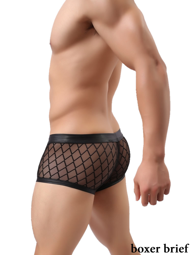 08ba2d2f4b57f3 Black Sheer Men Underwear Boxer Brief Transparent Boxer Man M8164 ...
