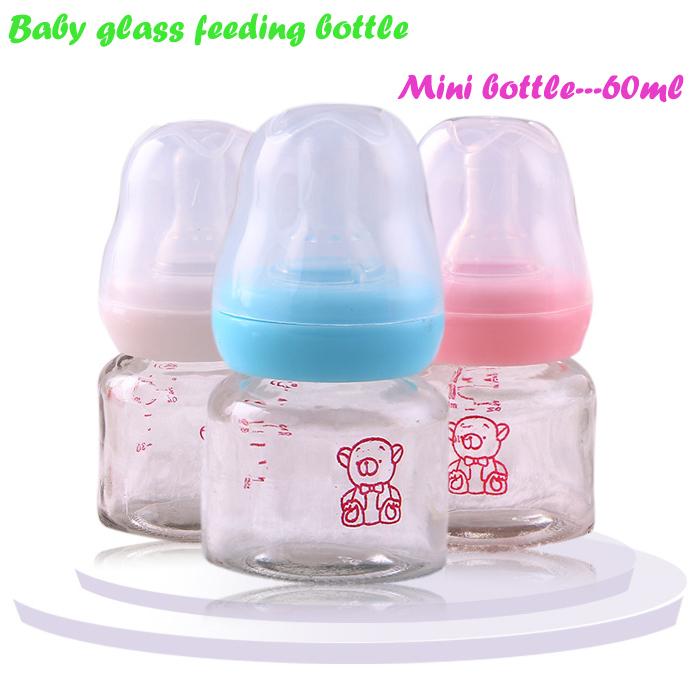 High qualiyt mini glass 60ml baby feeding bottle bear print children bottle 1801