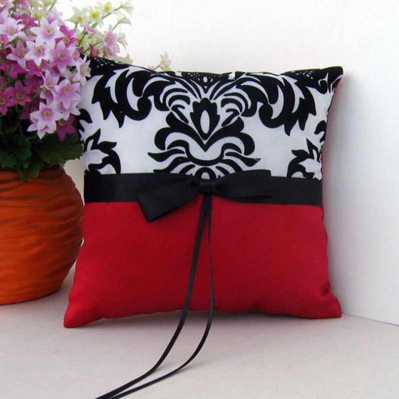 Flocking Wedding Party Ring Pillow Red