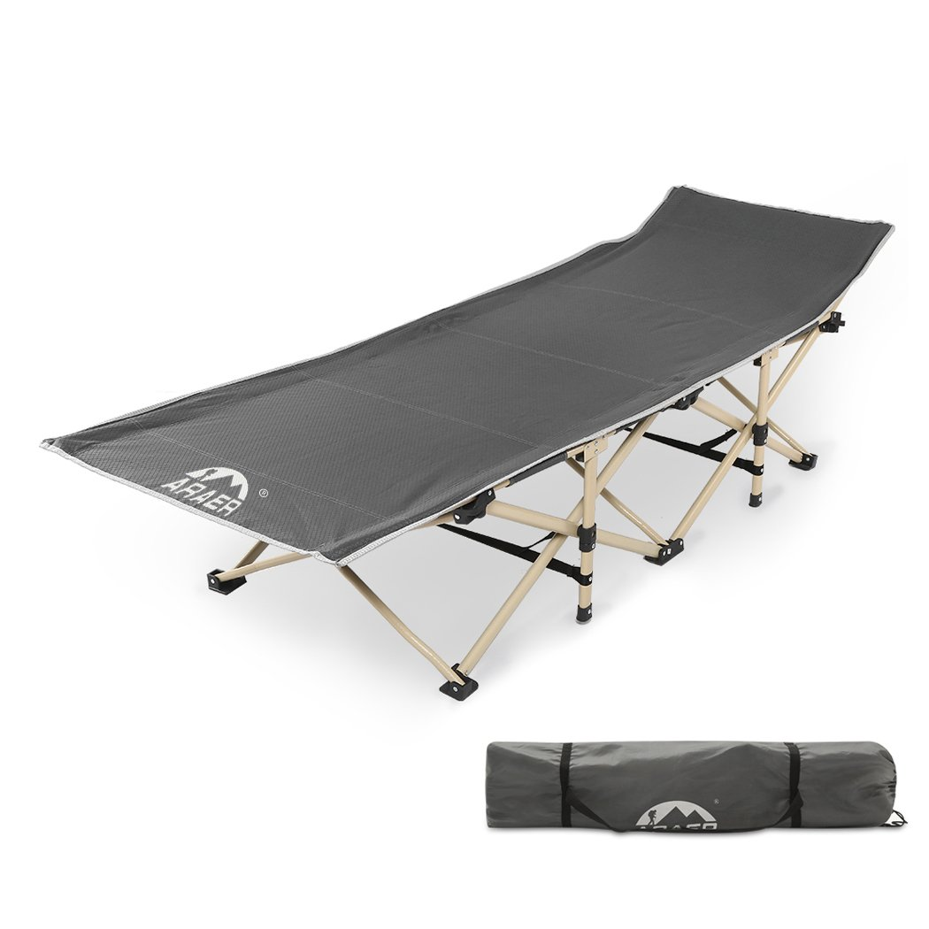 ARAER Camping Cots, Camping Cot Bed Portable Folding Cot Beach Bed Stable Folding Cot for Adults with Carry Bag