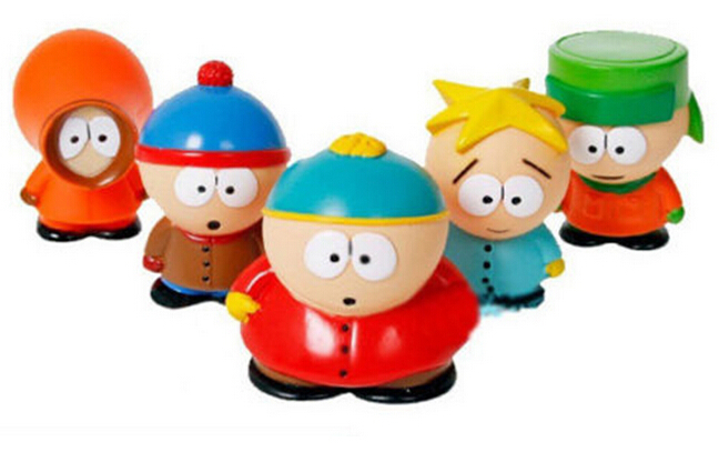 5PCS Cartoon Movie Model Kidrobot South Park The Stick of Truth Kyle Butters Kenny Cartman PVC Action Figures Cartoon dolls toys