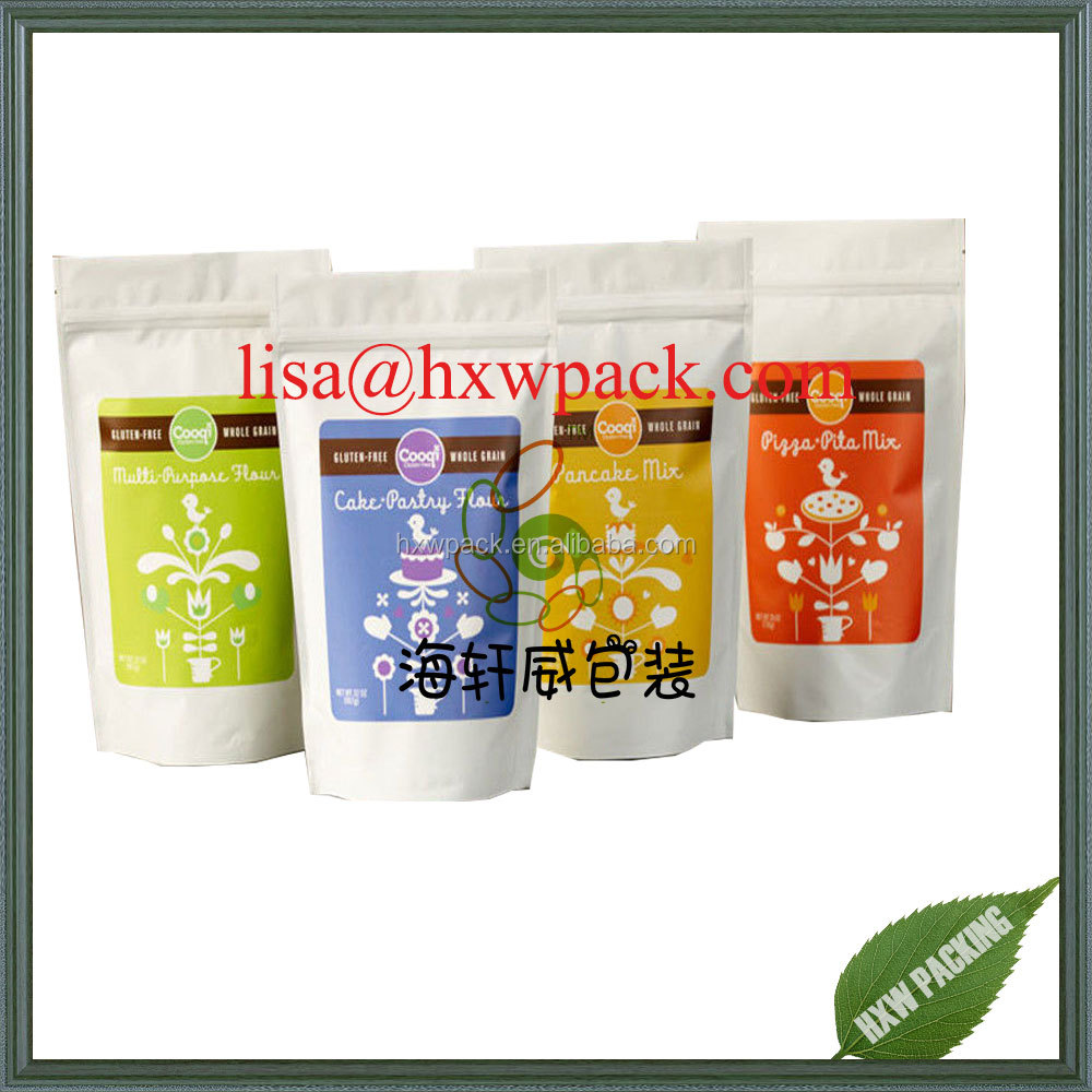 matte white printing finished stand up resealable zipper cake powder wheat flour bag,protein powder packaging bag