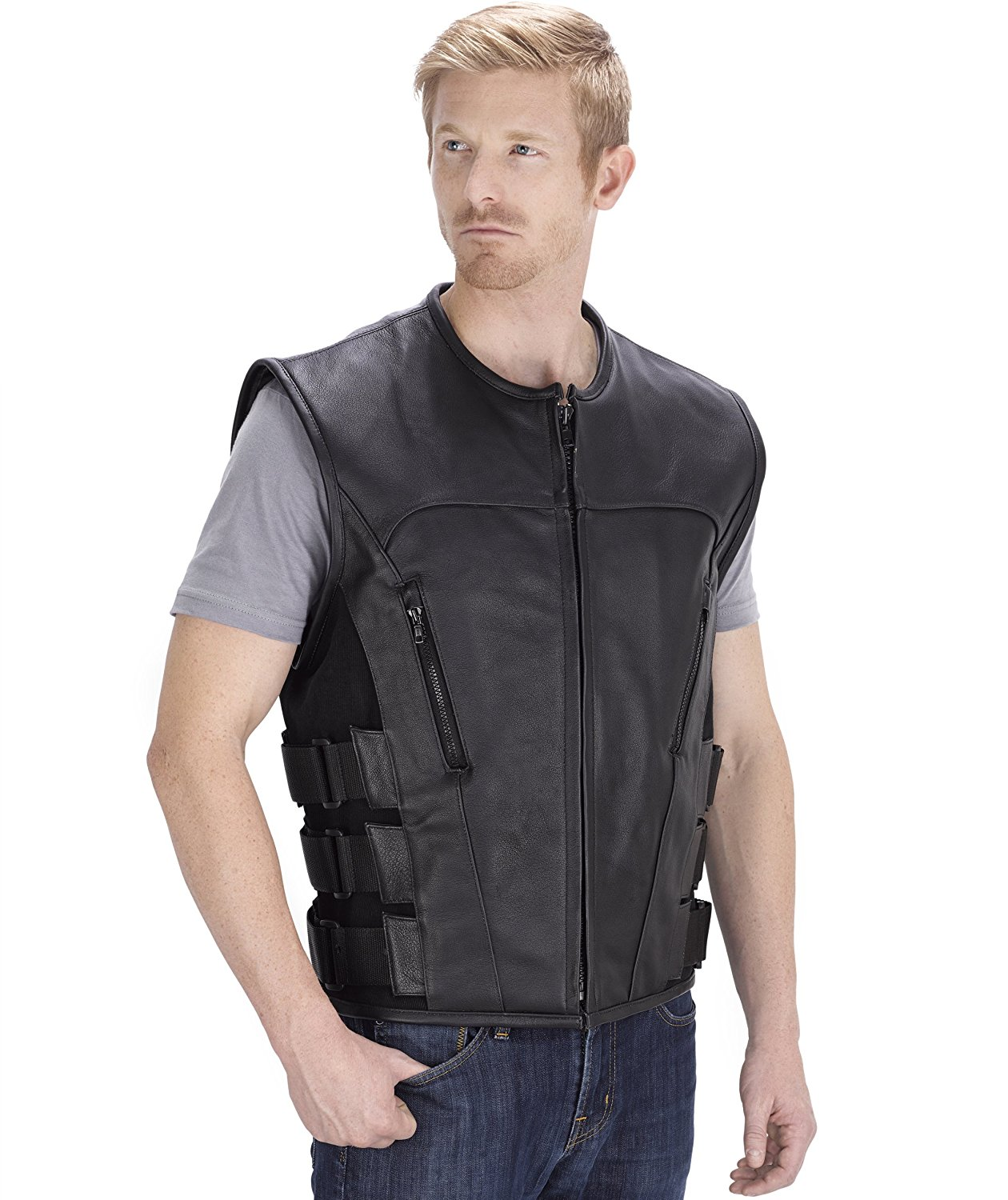 Viking Cycle Odin Motorcycle Leather Vest for Men (XL)