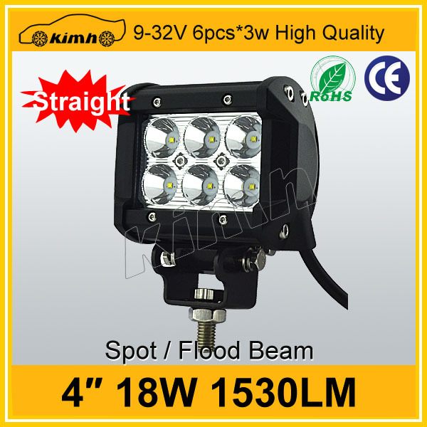 waterproof spot flood beam 4 inch 18w led work light bar for Universal Jeep SUV ATV Offroad <strong>auto</strong>