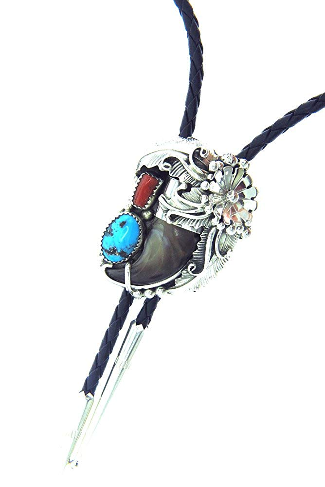 98ca0a482b03b Get Quotations · Rich Peel Navajo Crafted Albert Smith Bolo tie with a  Natural Bear Claw
