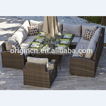 Sectional Deep Sitting Plastic Rattan Woven Outdoor Dining Table Cane Sofa Set Living Room Furniture
