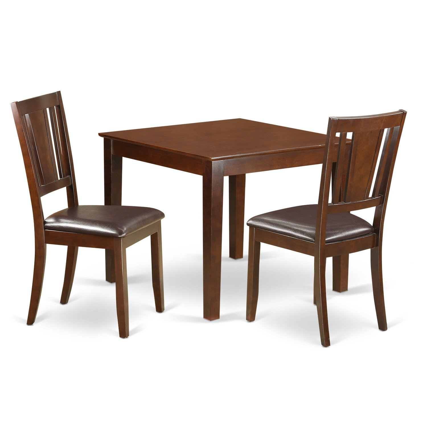 East West Furniture OXDU3-MAH-LC 3Piece Small Kitchen Table Set with One Oxford Dining Table & 2 Dining Chairs in Mahogany Finish
