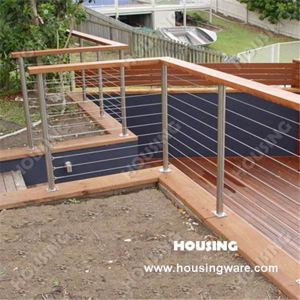 staalkabel draad railing balustrade met ronde en vierkante leuning post balustrades en leuningen. Black Bedroom Furniture Sets. Home Design Ideas