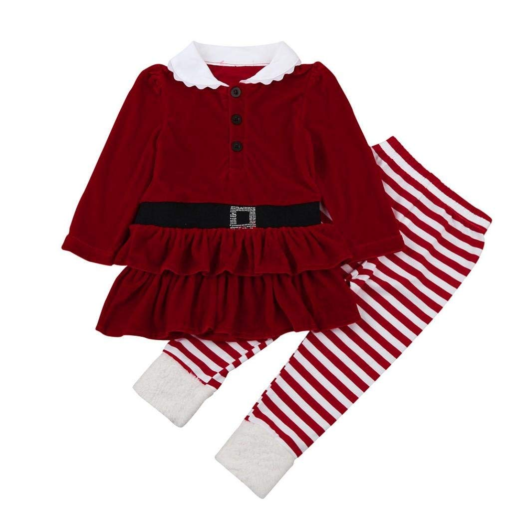 83aa2462fd6 Get Quotations · Allywit Toddler Kids Baby Girl Striped Princess Dress Tops Pants  Christmas Outfits Set