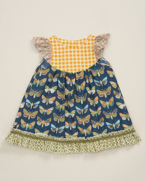 Fashion Remake OEM Infant Girls Boutique Outfits Flutter Sleeve Sewing Butterfly pattern Cotton Dresses For Toddler