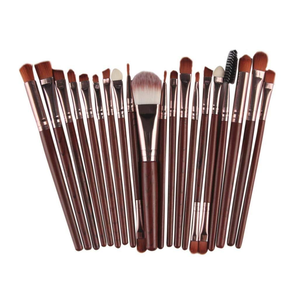 AMA(TM) 20 pcs/set Makeup Brush Set tools Make-up Toiletry Kit Wool Make Up Brush Set (Coffee)