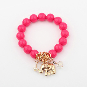 Fashion bangle rose red resin jewelry handmade mala beads wholesale charm bracelet PB1517