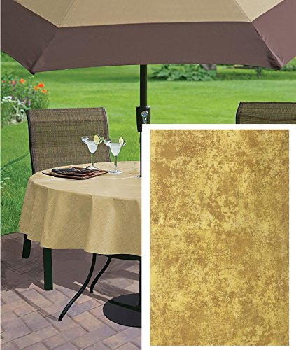 Get Quotations · Gold Milano Marble Solid Color Print Heavy Gauge Vinyl  Flannel Backed Tablecloth, Indoor/Outdoor