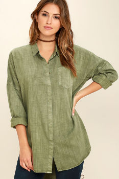 2016 Winter Women Long Sleeve Olive Green Washed Button Up Shirt