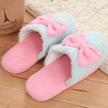Wholesale Winter Warm Lovely Velvet Women Ladies Home Anti Slip Bowknot Slippers Indoor Shoes Cotton Slippers Soft Shoe