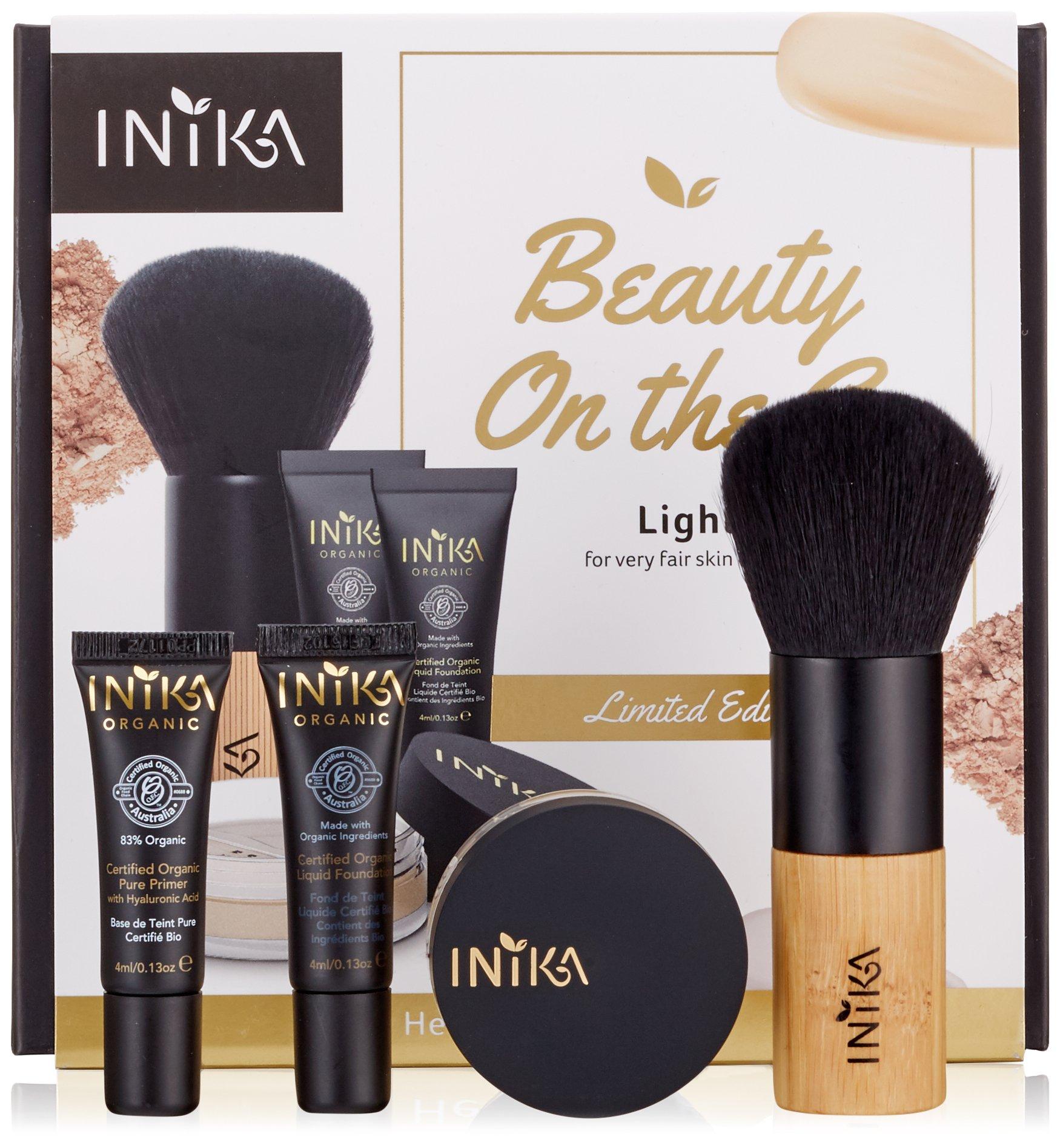 Inika Beauty On The Go Kit , Holiday Gift Sets, Pure Primer (4ml) , Certified Organic Liquid Foundation (4ml) , Loose Mineral Powder Foundation (3g) , Bamboo Kabuki Brush, Vegan (Light)