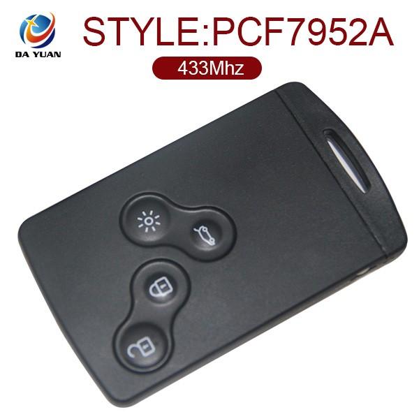 grande qualit pour renault megane 3 cl de voiture 433 mhz smart key 4 bouton carte puce. Black Bedroom Furniture Sets. Home Design Ideas