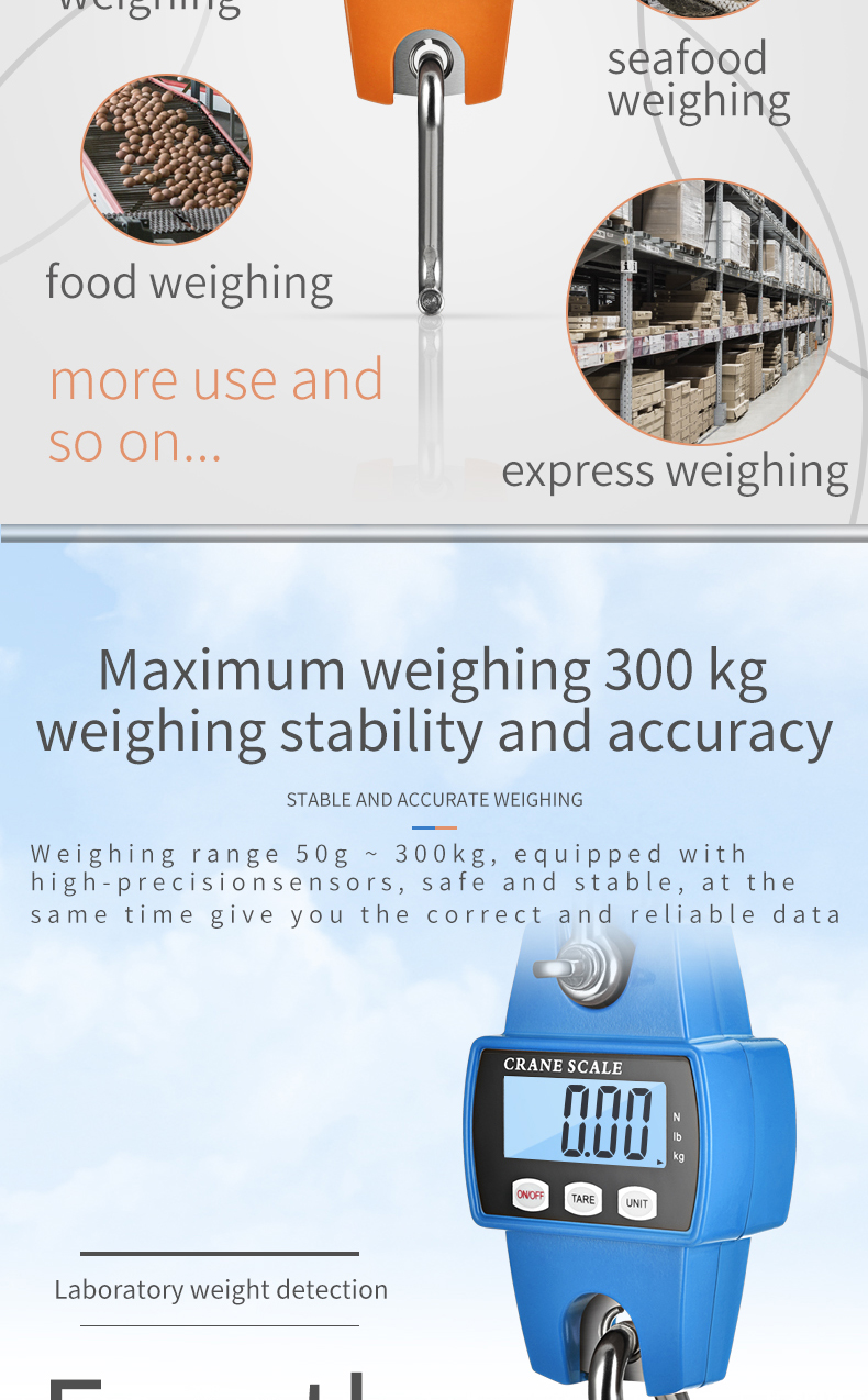 300kg Mini Ocs Alloy steel  digital  electronic crane scale luggage scale hunting scale