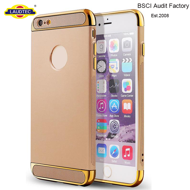 3 in 1 electroplate pc rubber coating tpu cover case for iphone 6 / 6s