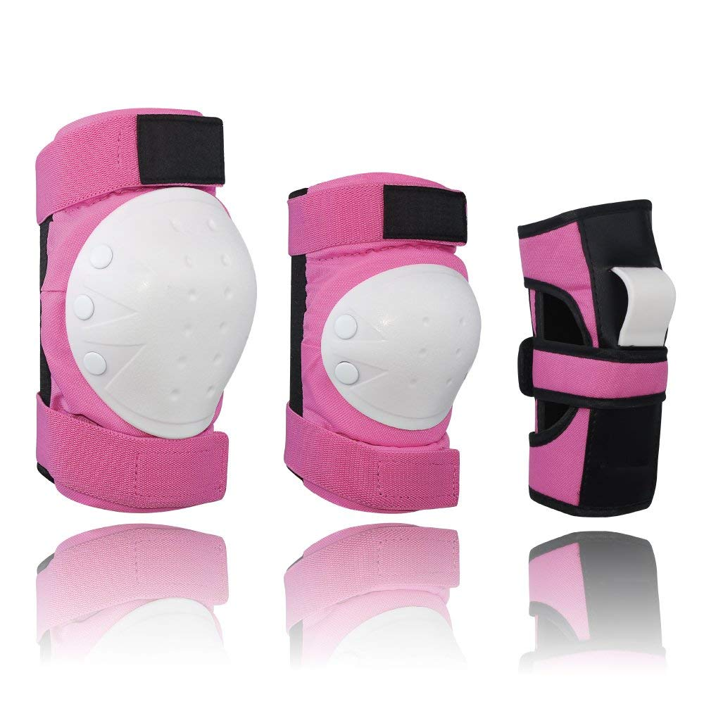 Get Quotations · Lucky-M Adult Kids Knee Pads Elbow Pads Wrist Guards 155439f21e