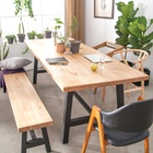 restaurant furniture wood metal table restaurant table dining set moq is 1 pcs table and bench set