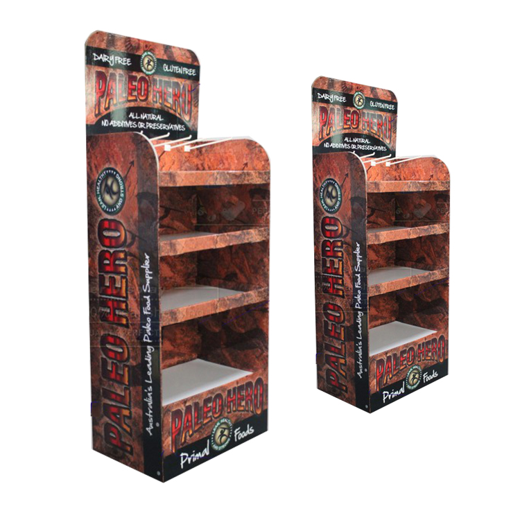 Cost-effective food 4 tiers floor cardboard stand for store good retails