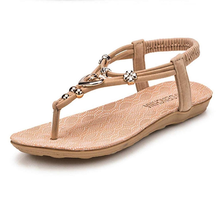 a8b7758bf1ced Get Quotations · Inkach Women Summer Sandals Summer Bohemia Sweet Beaded Sandals  Clip Toe Sandals Beach Shoes