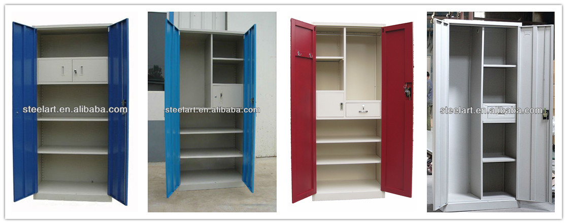 Modern Bedroom 3 Door Steel Clothes Cabinet Design