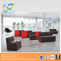 Commercial office moden style 2 seat with wooden Lshape sofa