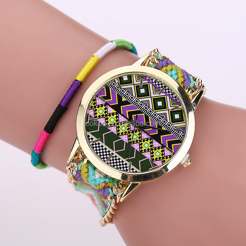 2015 New Fashion Design Watch Colorful Wind Weave Ladies Bracelet Watches Dress Woman Wrist Watches 100pcs/lot