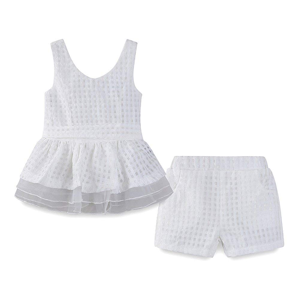 66309c829cd Get Quotations · Fairy Baby Toddler Girls Summer Outfit Sleeveless Grid  Vest Tops and Shorts Clothing Sets with Belt