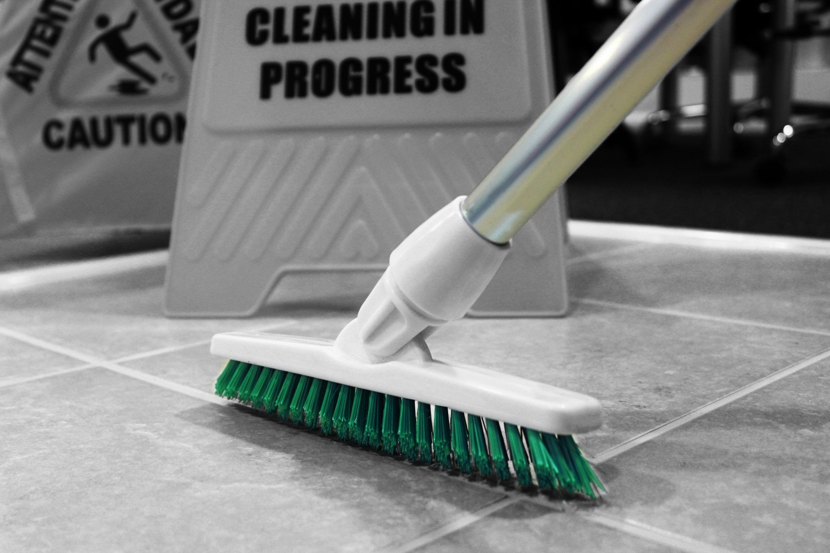 Green Colour Coded Food Hygiene Grout Cleaning Brush Long Handled Stiff Bristle Deck Floor Tile Scrubbing Angled Bristle Scrub Broom Brush by Grout Brush