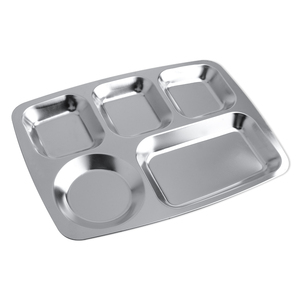 HY95 5 Department Large Circle 304 Stainless Steel Rice Plate